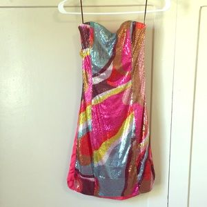 Strapless Multicolored Sequin Dress H&M